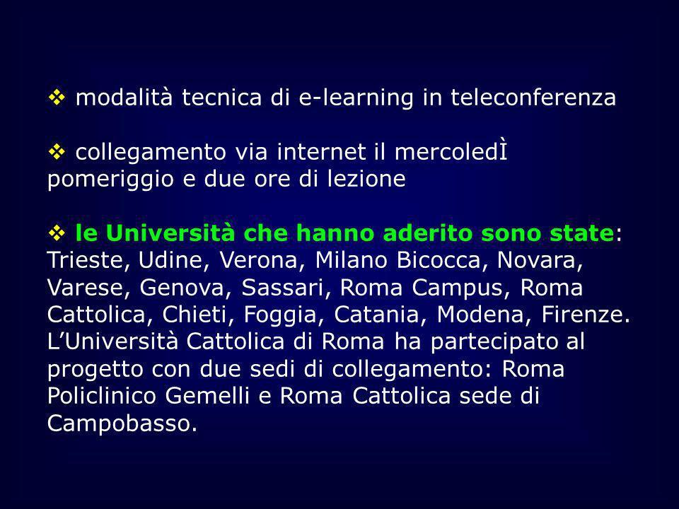 modalità tecnica di e-learning in teleconferenza collegamento via internet il mercoledÌ pomeriggio e due ore di lezione le Università che hanno aderit