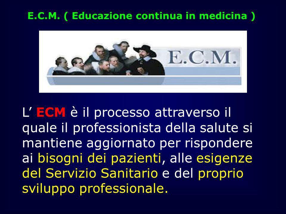 E.C.M. ( Educazione continua in medicina ) L ECM è il processo attraverso il quale il professionista della salute si mantiene aggiornato per risponder