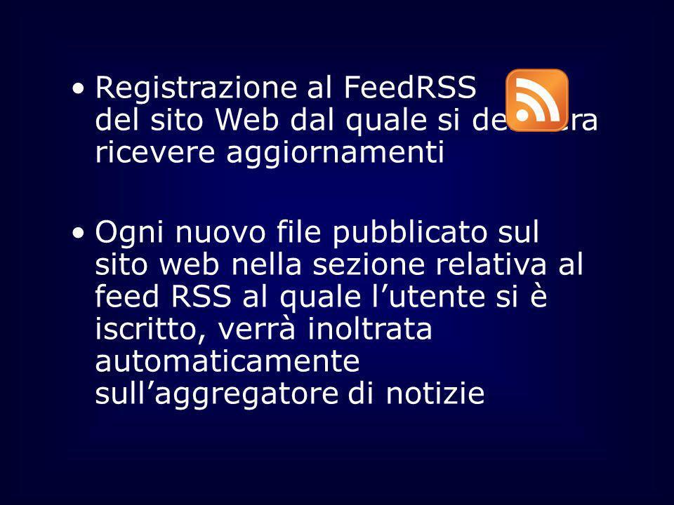 Registrazione al FeedRSS del sito Web dal quale si desidera ricevere aggiornamenti Ogni nuovo file pubblicato sul sito web nella sezione relativa al f