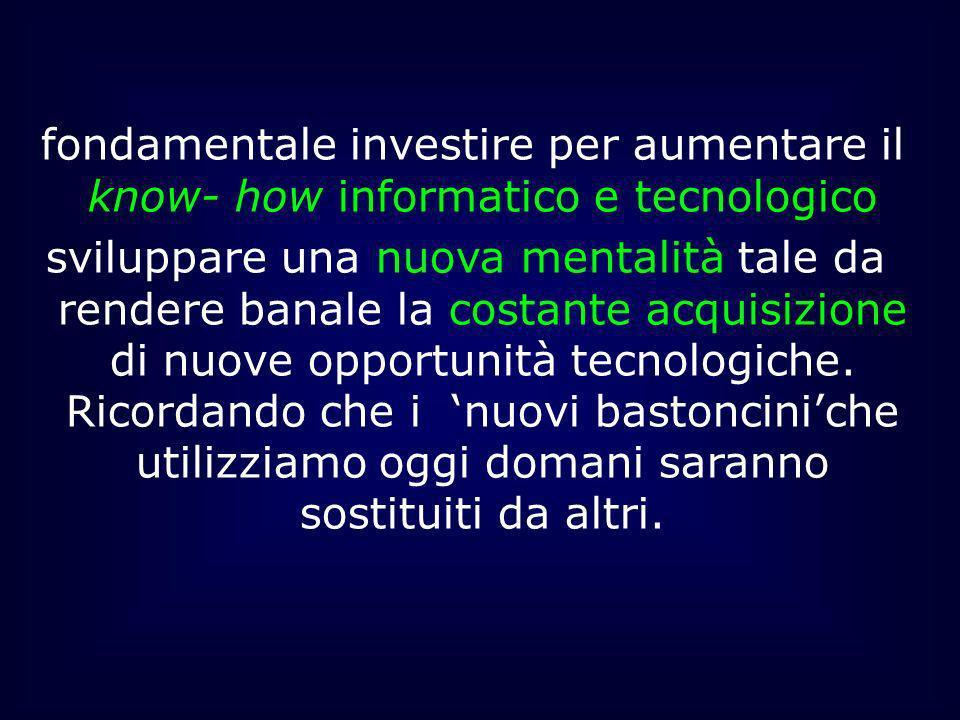 fondamentale investire per aumentare il know- how informatico e tecnologico sviluppare una nuova mentalità tale da rendere banale la costante acquisiz