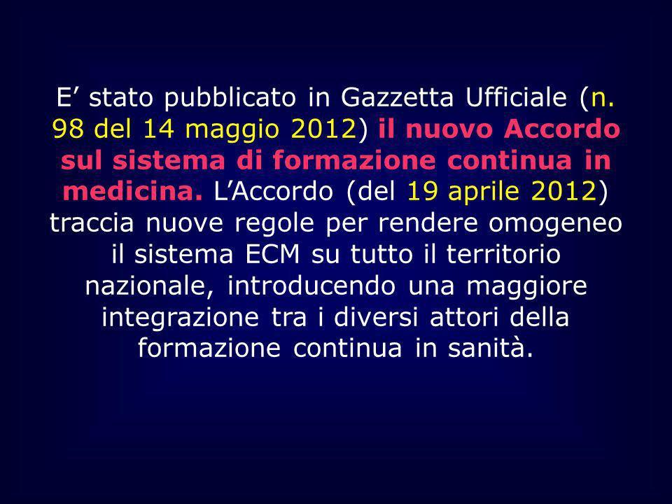 E stato pubblicato in Gazzetta Ufficiale (n. 98 del 14 maggio 2012) il nuovo Accordo sul sistema di formazione continua in medicina. LAccordo (del 19