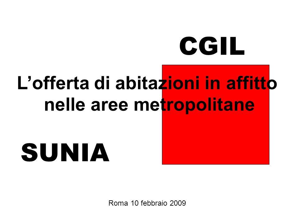 SUNIA CGIL Roma 10 febbraio 2009 Lofferta di abitazioni in affitto nelle aree metropolitane