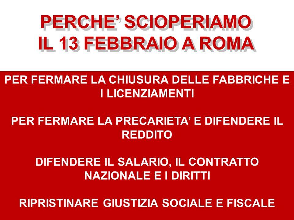 PERCHE SCIOPERIAMO IL 13 FEBBRAIO A ROMA PERCHE SCIOPERIAMO IL 13 FEBBRAIO A ROMA PER FERMARE LA CHIUSURA DELLE FABBRICHE E I LICENZIAMENTI PER FERMAR