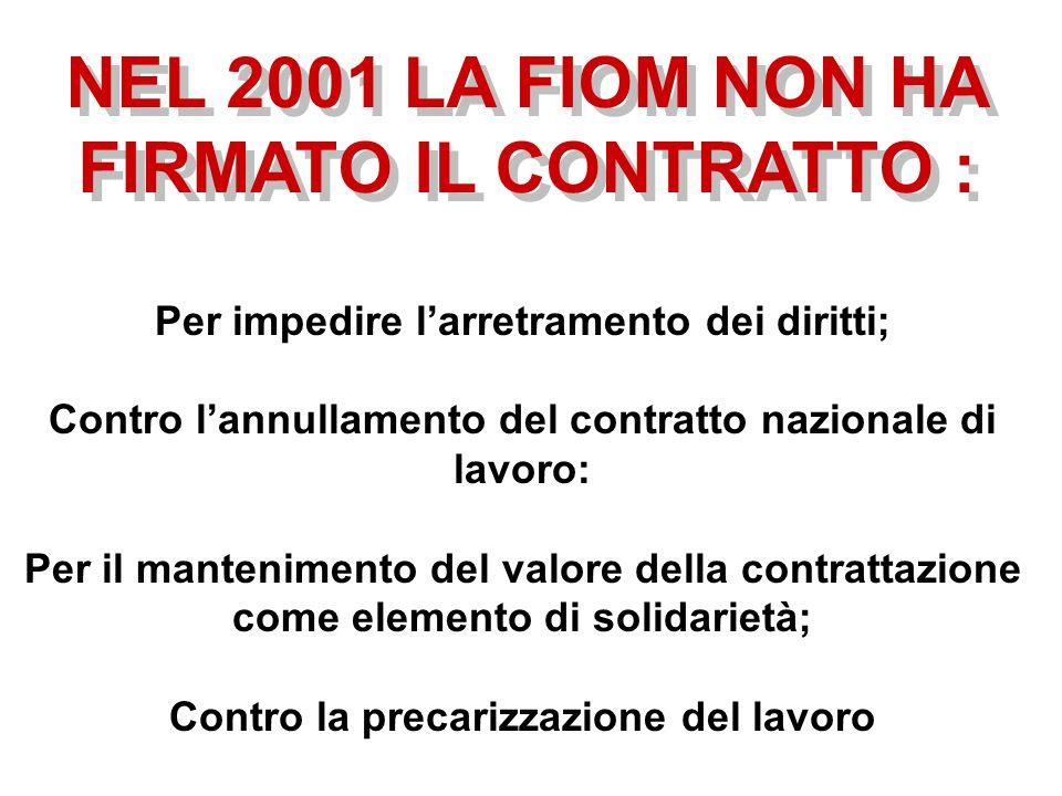 NEL 2001 LA FIOM NON HA FIRMATO IL CONTRATTO : Per impedire larretramento dei diritti; Contro lannullamento del contratto nazionale di lavoro: Per il