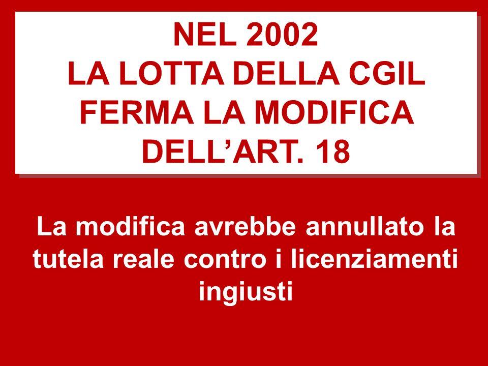 La modifica avrebbe annullato la tutela reale contro i licenziamenti ingiusti NEL 2002 LA LOTTA DELLA CGIL FERMA LA MODIFICA DELLART. 18 NEL 2002 LA L