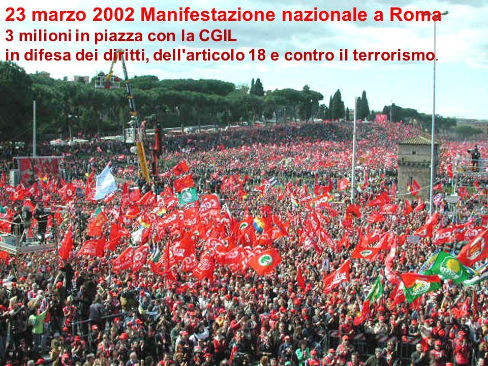 23 marzo 2002 Manifestazione nazionale a Roma 3 milioni in piazza con la CGIL in difesa dei diritti, dell'articolo 18 e contro il terrorismo.