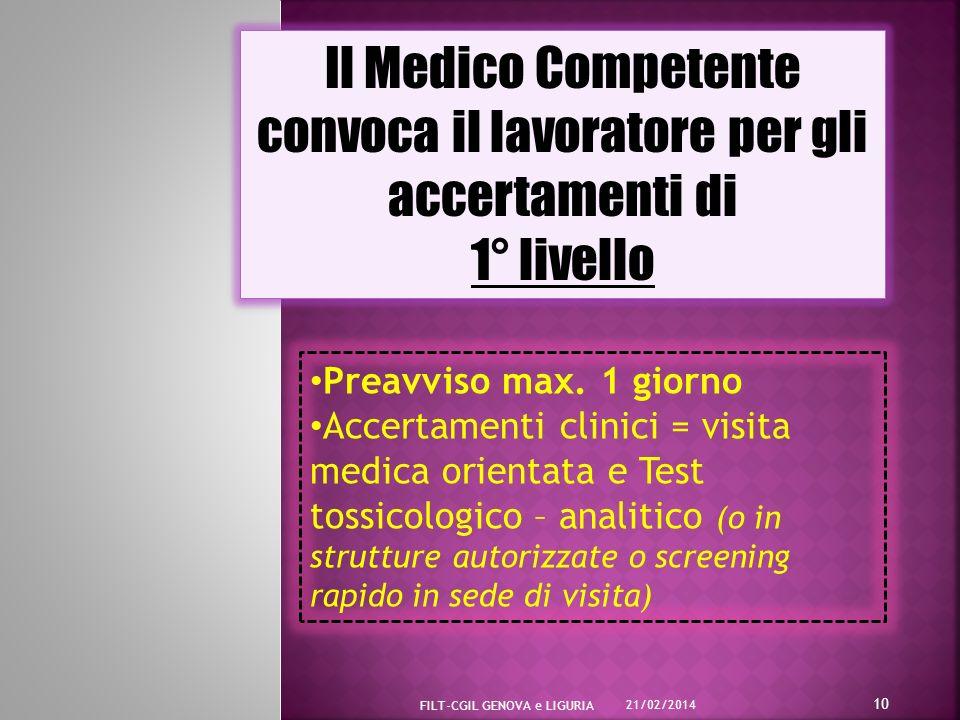 Il Medico Competente convoca il lavoratore per gli accertamenti di 1° livello Il Medico Competente convoca il lavoratore per gli accertamenti di 1° livello Preavviso max.