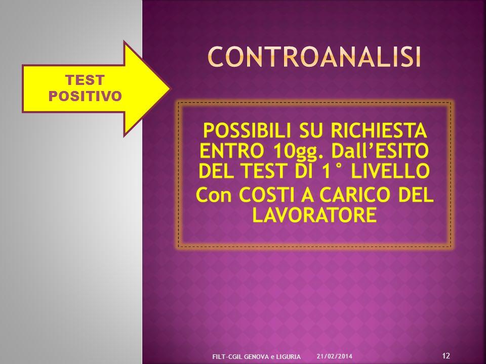 21/02/2014 FILT-CGIL GENOVA e LIGURIA 12 TEST POSITIVO