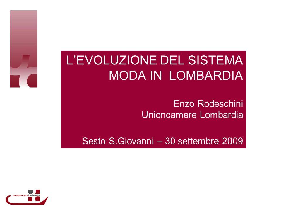 LEVOLUZIONE DEL SISTEMA MODA IN LOMBARDIA Enzo Rodeschini Unioncamere Lombardia Sesto S.Giovanni – 30 settembre 2009