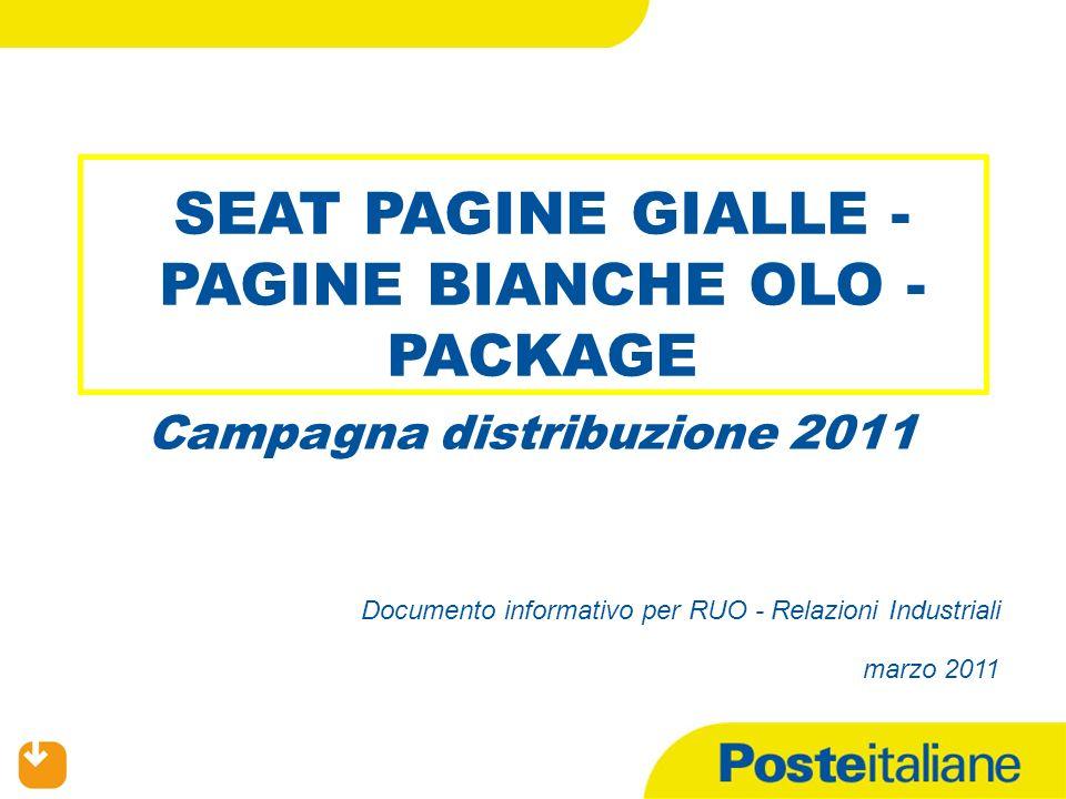SEAT PAGINE GIALLE - PAGINE BIANCHE OLO - PACKAGE Campagna distribuzione 2011 Documento informativo per RUO - Relazioni Industriali marzo 2011