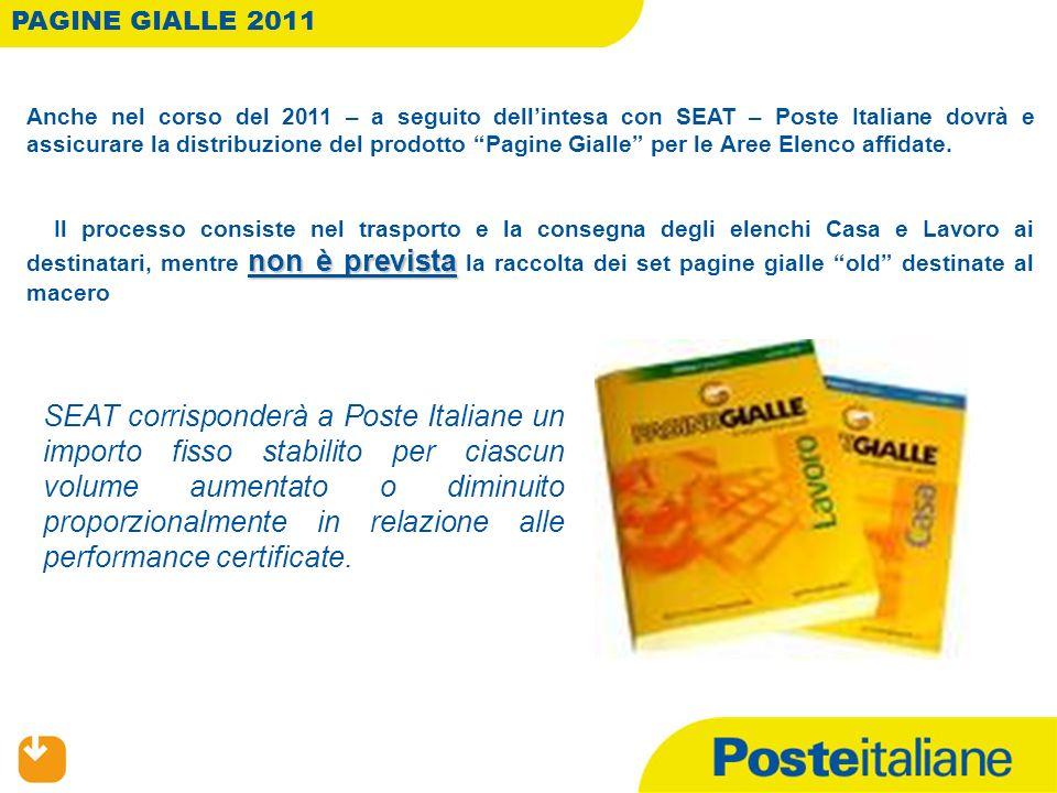 Anche nel corso del 2011 – a seguito dellintesa con SEAT – Poste Italiane dovrà e assicurare la distribuzione del prodotto Pagine Gialle per le Aree Elenco affidate.