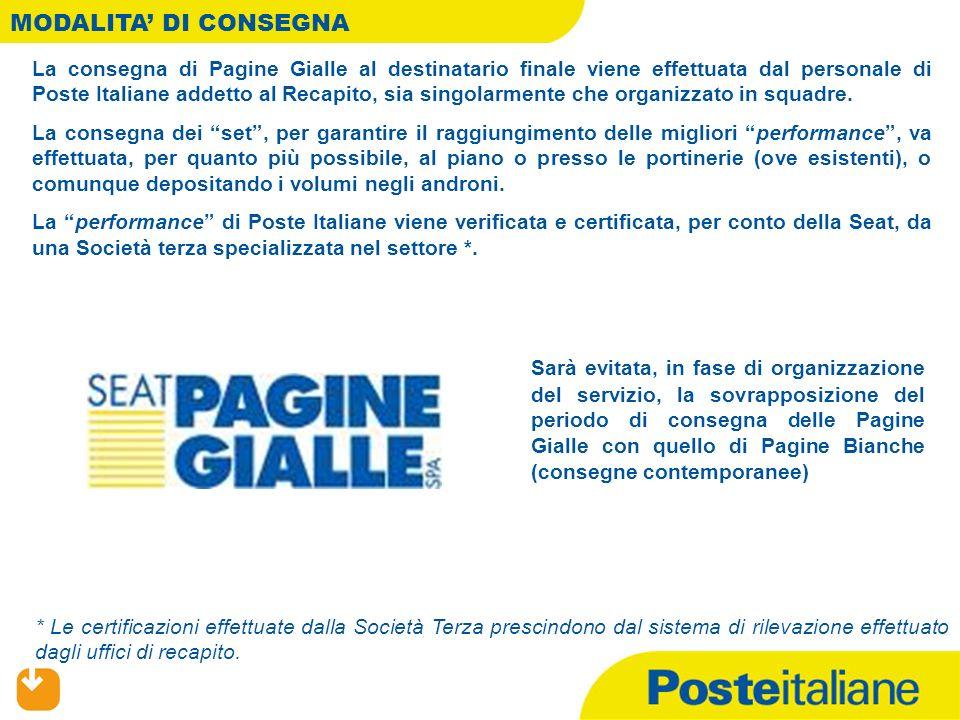 MODALITA DI CONSEGNA La consegna di Pagine Gialle al destinatario finale viene effettuata dal personale di Poste Italiane addetto al Recapito, sia singolarmente che organizzato in squadre.