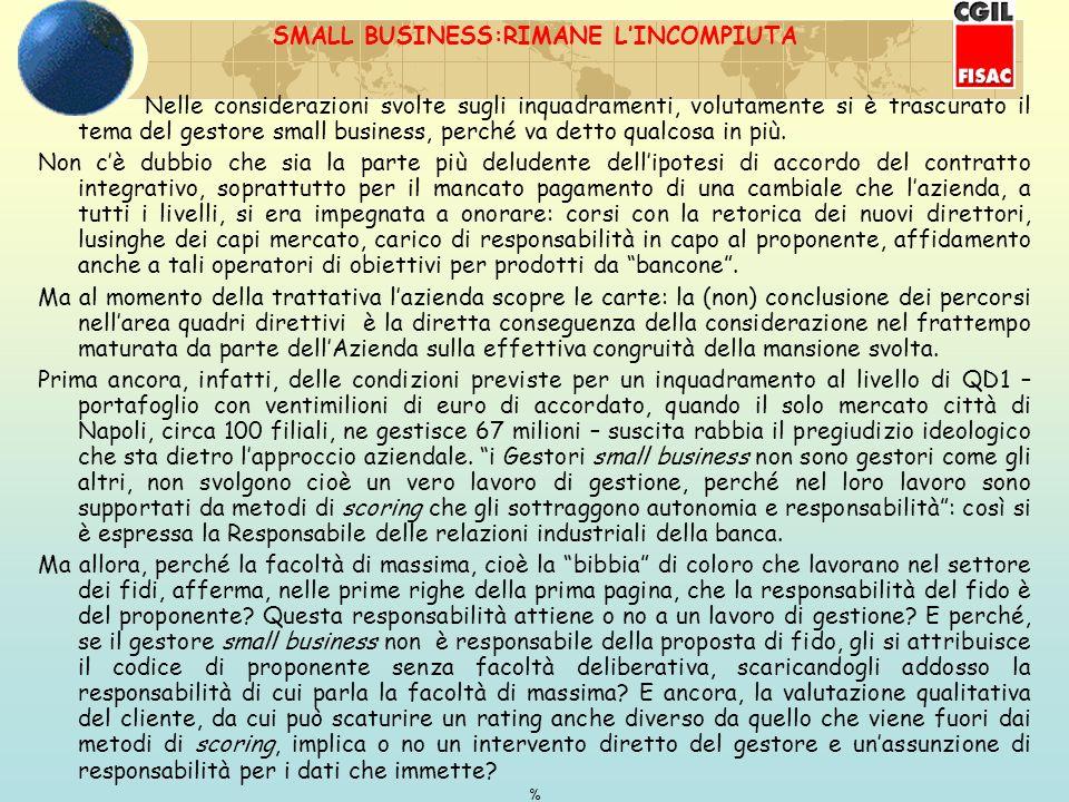 SMALL BUSINESS:RIMANE LINCOMPIUTA Nelle considerazioni svolte sugli inquadramenti, volutamente si è trascurato il tema del gestore small business, perché va detto qualcosa in più.