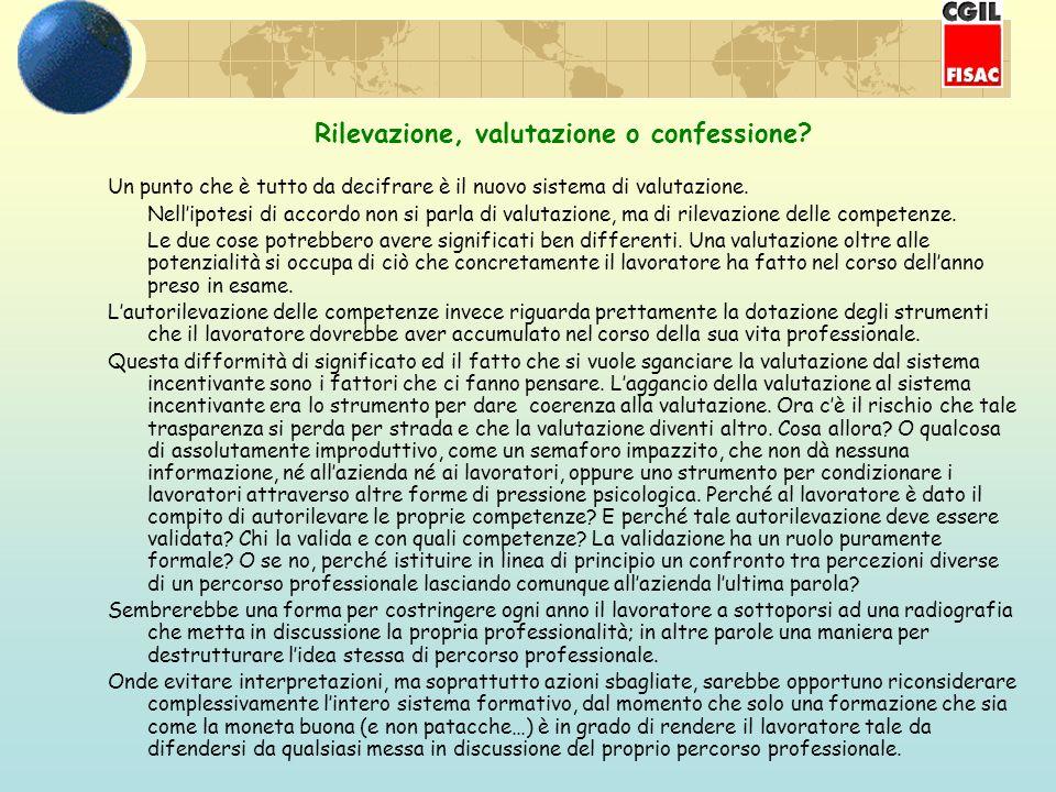 Rilevazione, valutazione o confessione.