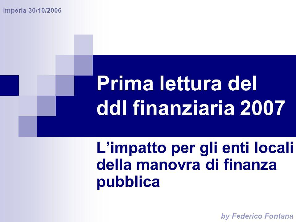 by Federico Fontana Imperia 30/10/2006 Prima lettura del ddl finanziaria 2007 Limpatto per gli enti locali della manovra di finanza pubblica