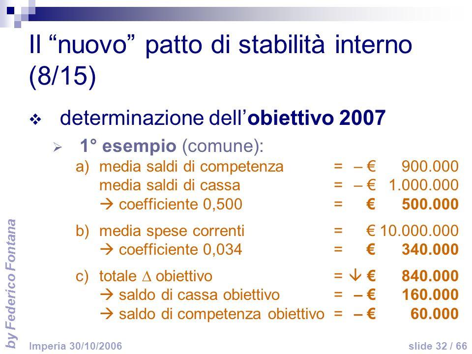 by Federico Fontana slide 32 / 66 Imperia 30/10/2006 Il nuovo patto di stabilità interno (8/15) determinazione dellobiettivo 2007 1° esempio (comune): a)media saldi di competenza =– 900.000 media saldi di cassa=– 1.000.000 coefficiente 0,500=500.000 b)media spese correnti=10.000.000 coefficiente 0,034=340.000 c)totale obiettivo= 840.000 saldo di cassa obiettivo=– 160.000 saldo di competenza obiettivo=– 60.000