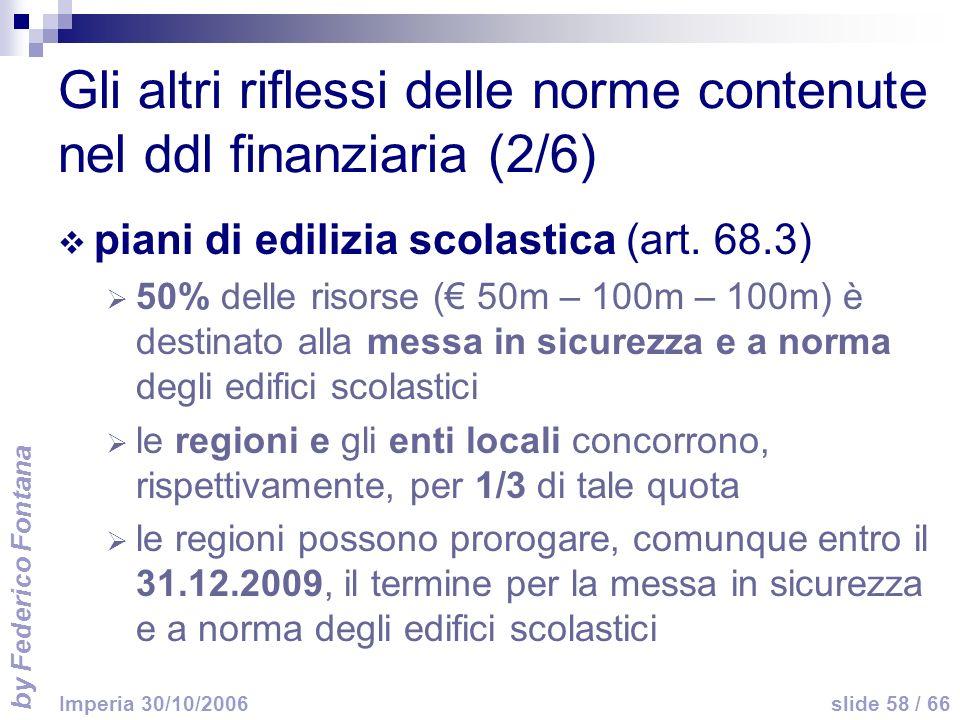 by Federico Fontana slide 58 / 66 Imperia 30/10/2006 Gli altri riflessi delle norme contenute nel ddl finanziaria (2/6) piani di edilizia scolastica (