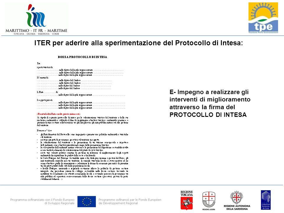 ITER per aderire alla sperimentazione del Protocollo di Intesa: E- Impegno a realizzare gli interventi di miglioramento attraverso la firma del PROTOCOLLO DI INTESA