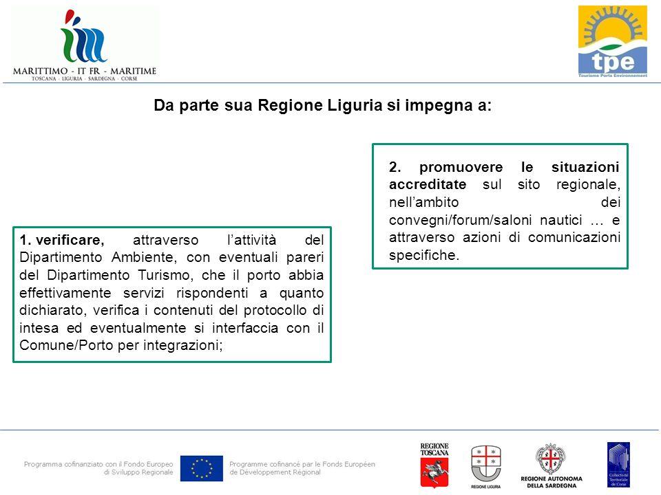 Da parte sua Regione Liguria si impegna a: 1.