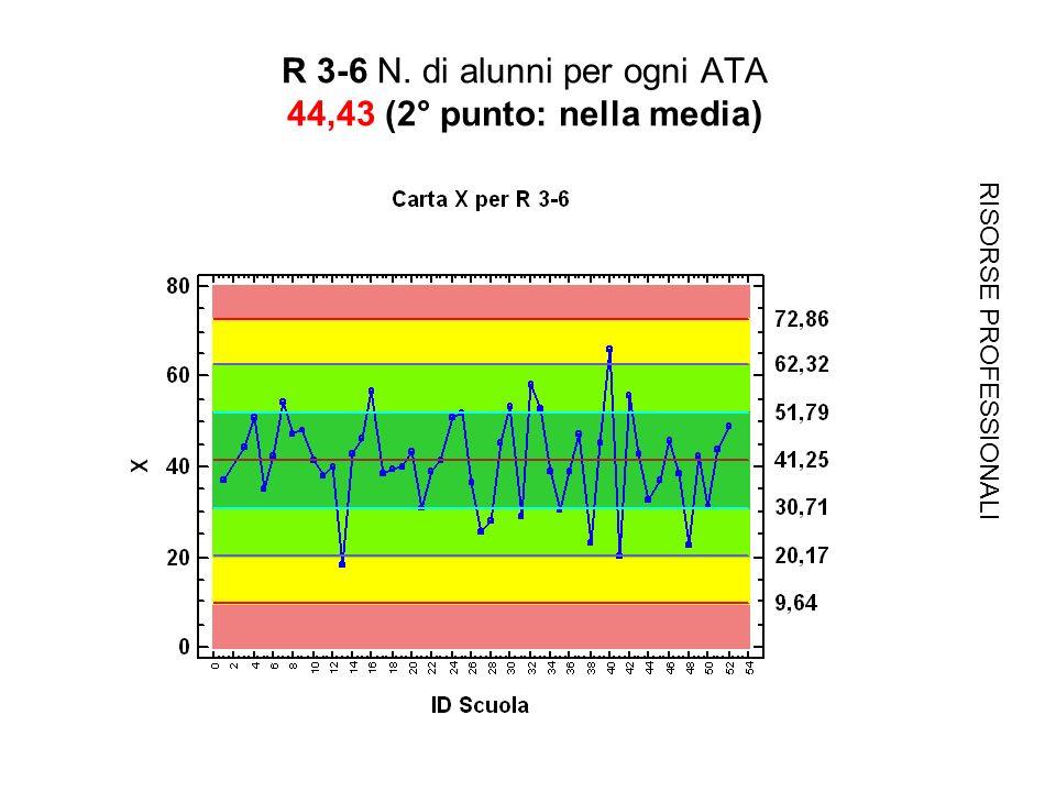 R 3-6 N. di alunni per ogni ATA 44,43 (2° punto: nella media) RISORSE PROFESSIONALI