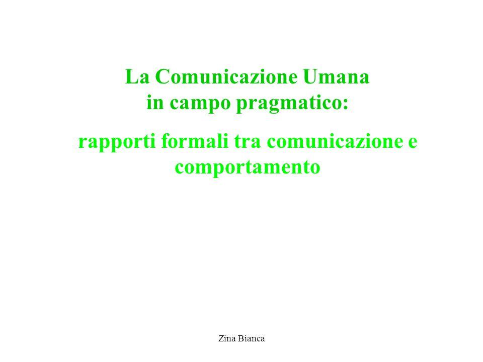 Zina Bianca La Comunicazione Umana in campo pragmatico: rapporti formali tra comunicazione e comportamento