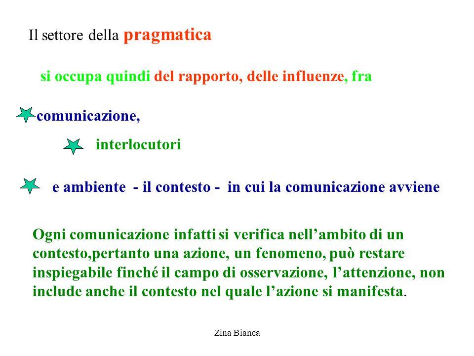 Zina Bianca Il settore della pragmatica comunicazione, interlocutori si occupa quindi del rapporto, delle influenze, fra Ogni comunicazione infatti si