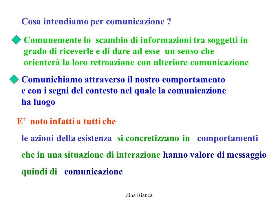 Zina Bianca Cosa intendiamo per comunicazione ? Comunemente lo scambio di informazioni tra soggetti in grado di riceverle e di dare ad esse un senso c