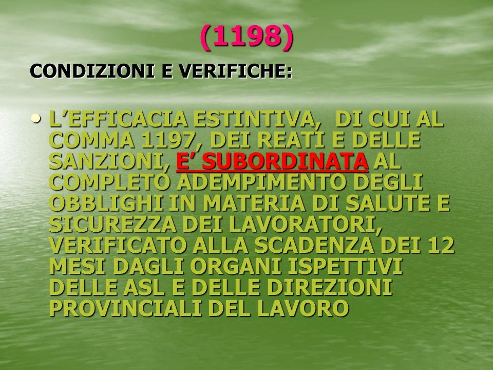 (1198) CONDIZIONI E VERIFICHE: LEFFICACIA ESTINTIVA, DI CUI AL COMMA 1197, DEI REATI E DELLE SANZIONI, E SUBORDINATA AL COMPLETO ADEMPIMENTO DEGLI OBB