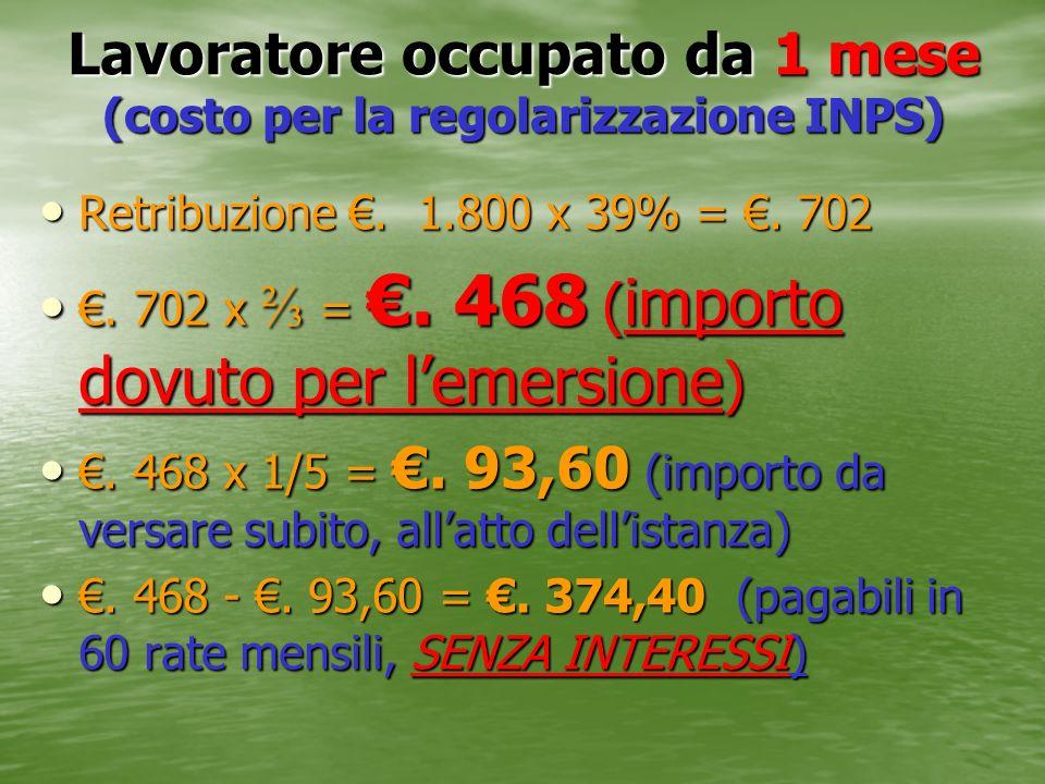 Lavoratore occupato da 1 mese (costo per la regolarizzazione INPS) Retribuzione. 1.800 x 39% =. 702 Retribuzione. 1.800 x 39% =. 702. 702 x =. 468 ( i
