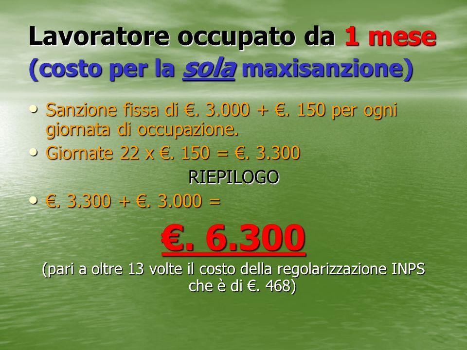Lavoratore occupato da 1 mese (costo per la sola maxisanzione) Sanzione fissa di. 3.000 +. 150 per ogni giornata di occupazione. Sanzione fissa di. 3.