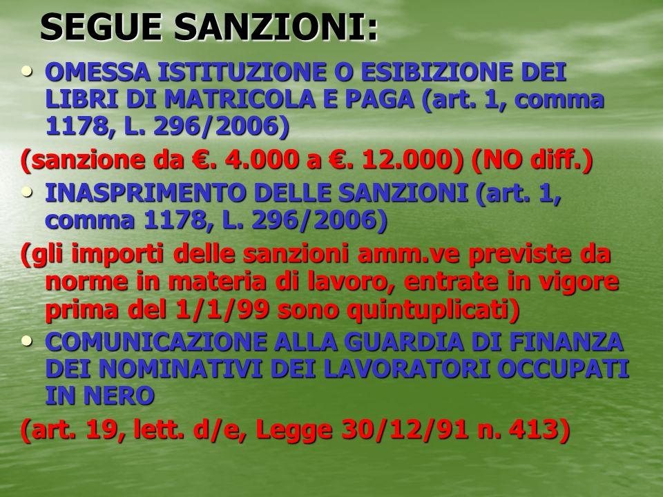 SEGUE SANZIONI: OMESSA ISTITUZIONE O ESIBIZIONE DEI LIBRI DI MATRICOLA E PAGA (art. 1, comma 1178, L. 296/2006) OMESSA ISTITUZIONE O ESIBIZIONE DEI LI
