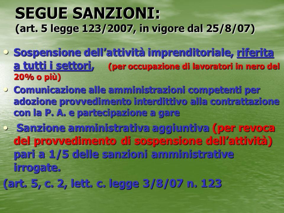 SEGUE SANZIONI: (art. 5 legge 123/2007, in vigore dal 25/8/07) Sospensione dellattività imprenditoriale, riferita a tutti i settori, (per occupazione