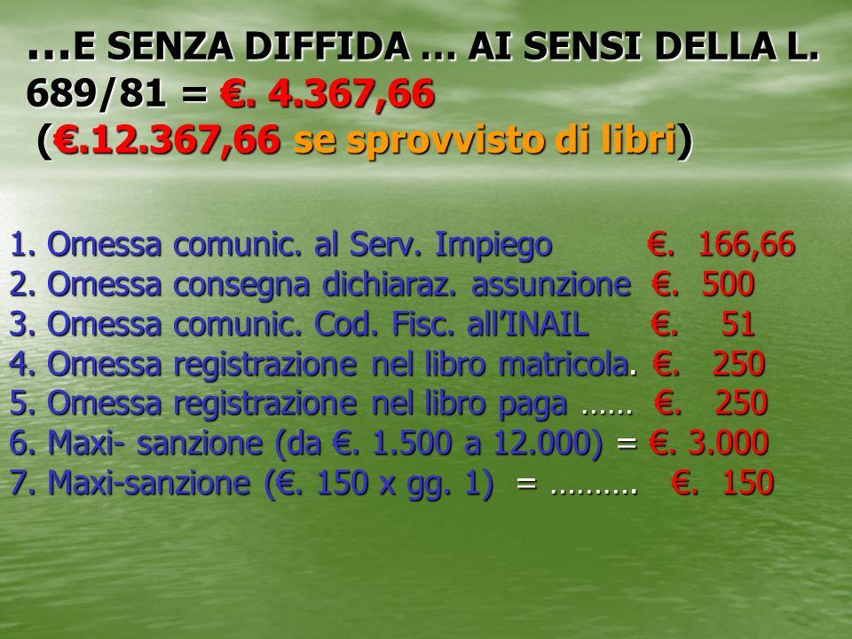 … E SENZA DIFFIDA … AI SENSI DELLA L. 689/81 =. 4.367,66 (.12.367,66 se sprovvisto di libri) 1. Omessa comunic. al Serv. Impiego. 166,66 2. Omessa con