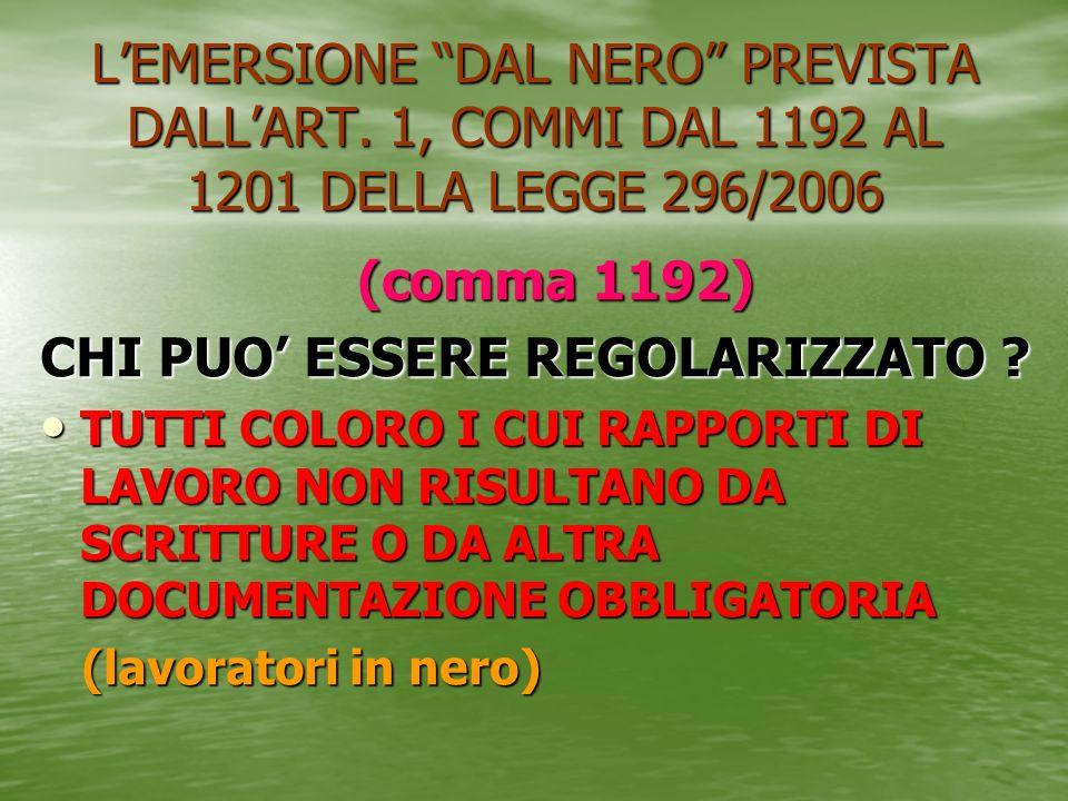 LEMERSIONE DAL NERO PREVISTA DALLART. 1, COMMI DAL 1192 AL 1201 DELLA LEGGE 296/2006 (comma 1192) (comma 1192) CHI PUO ESSERE REGOLARIZZATO ? TUTTI CO