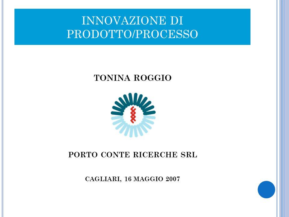 INNOVAZIONE DI PRODOTTO/PROCESSO TONINA ROGGIO PORTO CONTE RICERCHE SRL CAGLIARI, 16 MAGGIO 2007