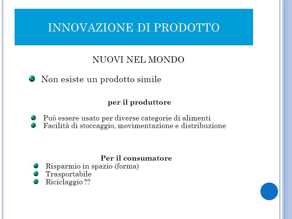 INNOVAZIONE DI PRODOTTO NUOVI NEL MONDO Non esiste un prodotto simile per il produttore Può essere usato per diverse categorie di alimenti Facilità di