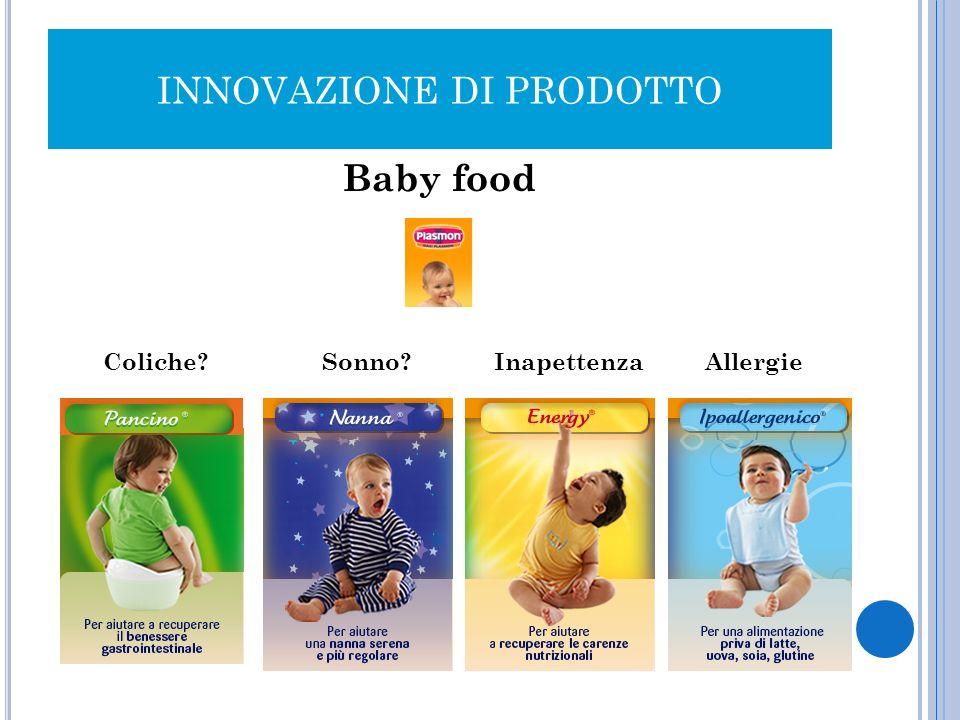 INNOVAZIONE DI PRODOTTO Baby food Coliche? Sonno? Inapettenza Allergie