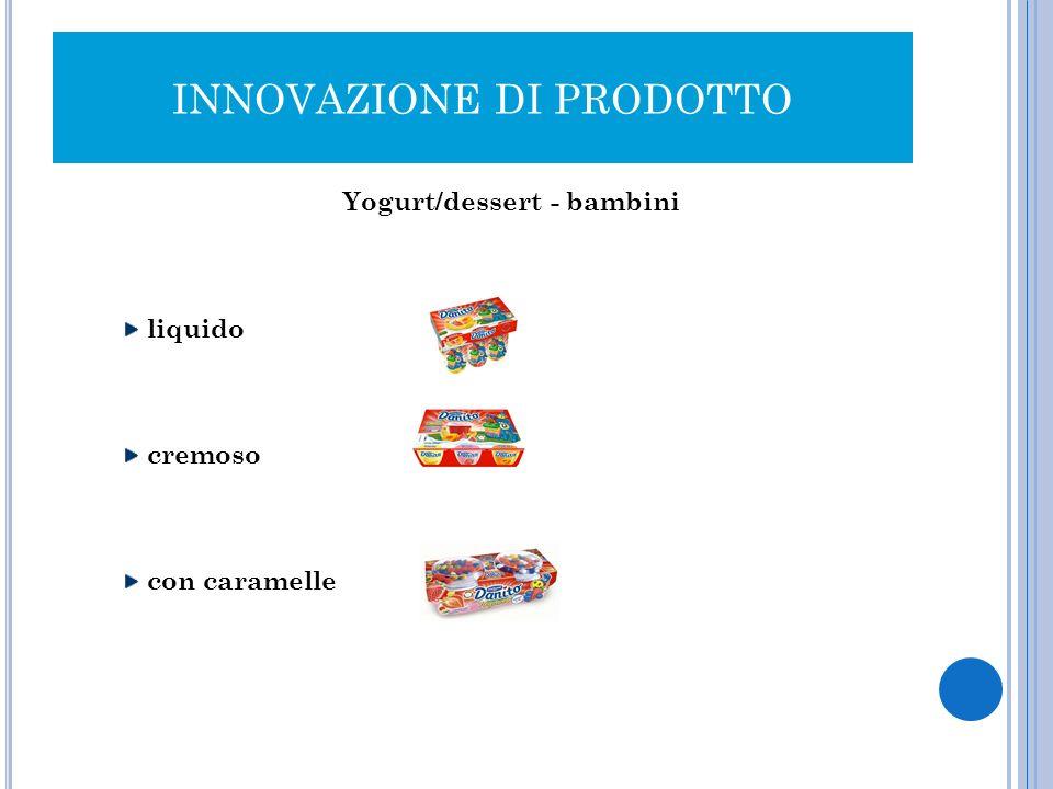 INNOVAZIONE DI PRODOTTO Yogurt/dessert - bambini liquido cremoso con caramelle