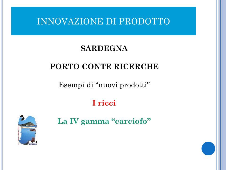 INNOVAZIONE DI PRODOTTO SARDEGNA PORTO CONTE RICERCHE Esempi di nuovi prodotti I ricci La IV gamma carciofo