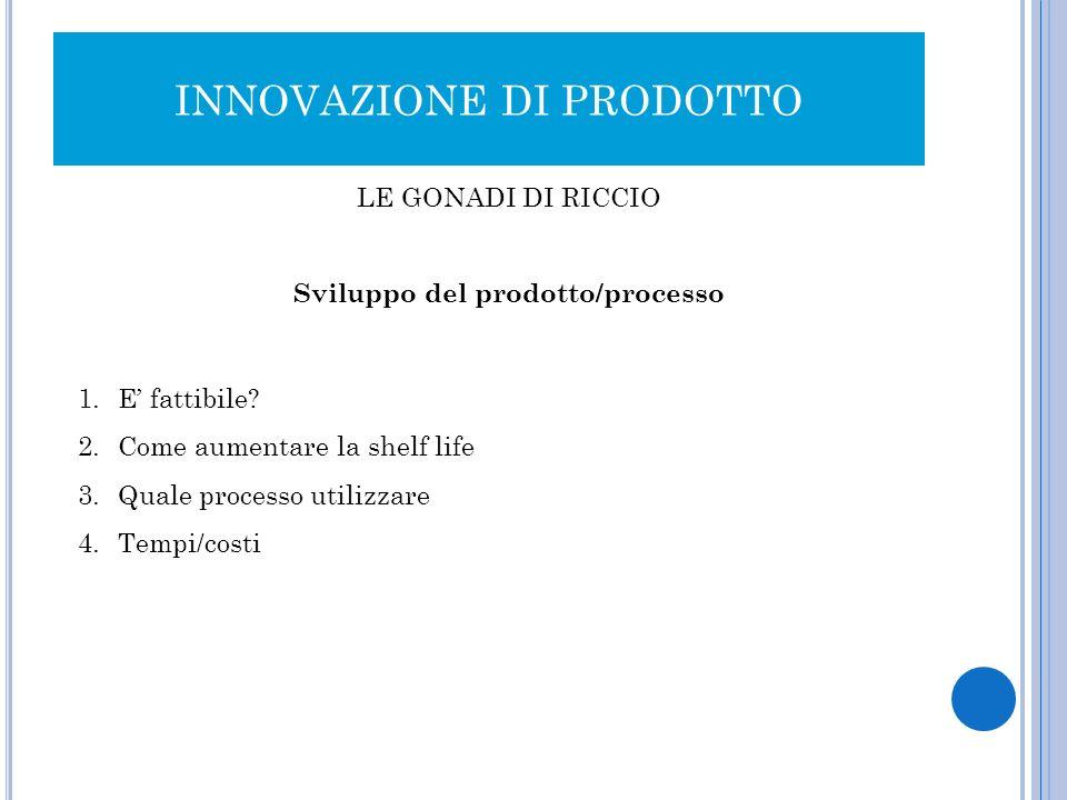 INNOVAZIONE DI PRODOTTO LE GONADI DI RICCIO Sviluppo del prodotto/processo 1.E fattibile? 2.Come aumentare la shelf life 3.Quale processo utilizzare 4