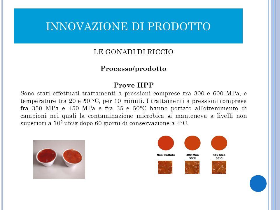 INNOVAZIONE DI PRODOTTO LE GONADI DI RICCIO Processo/prodotto Prove HPP Sono stati effettuati trattamenti a pressioni comprese tra 300 e 600 MPa, e te