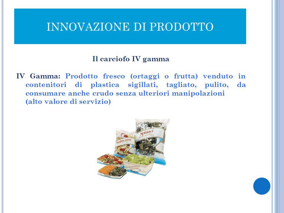 INNOVAZIONE DI PRODOTTO Il carciofo IV gamma IV Gamma: Prodotto fresco (ortaggi o frutta) venduto in contenitori di plastica sigillati, tagliato, puli