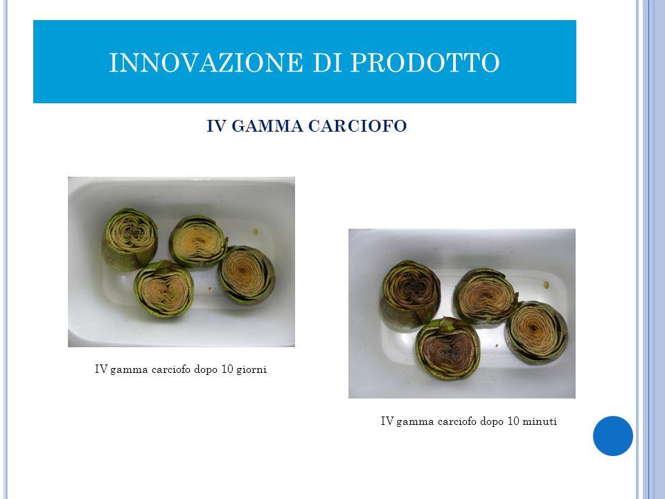INNOVAZIONE DI PRODOTTO IV GAMMA CARCIOFO IV gamma carciofo dopo 10 giorni IV gamma carciofo dopo 10 minuti
