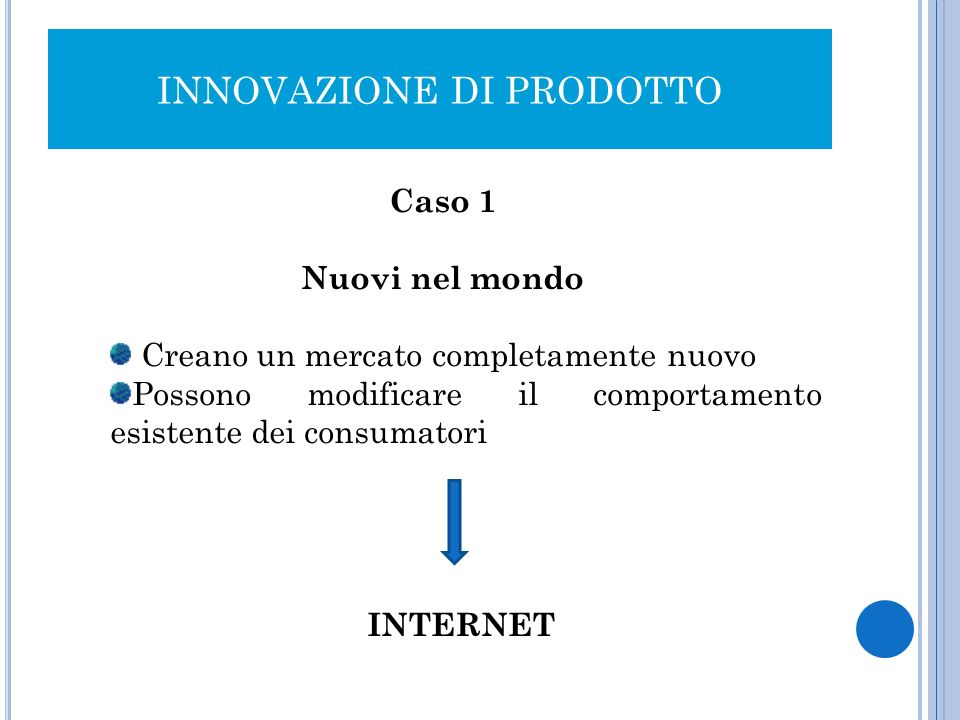 INNOVAZIONE DI PRODOTTO Caso 1 Nuovi nel mondo Creano un mercato completamente nuovo Possono modificare il comportamento esistente dei consumatori INT
