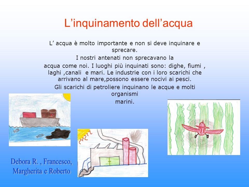 Linquinamento dellacqua L acqua è molto importante e non si deve inquinare e sprecare. I nostri antenati non sprecavano la acqua come noi. I luoghi pi