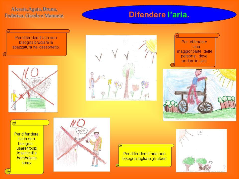 Difendere laria. Per difendere laria non bisogna bruciare la spazzatura nel cassonetto. Per difendere l aria non bisogna tagliare gli alberi. Per dife