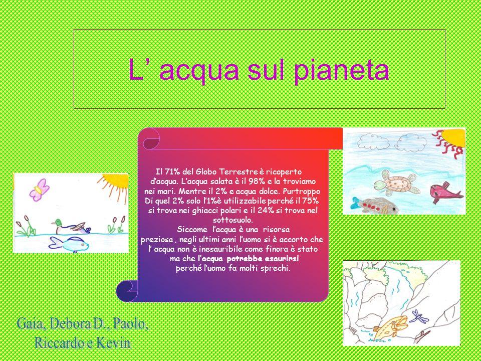 L acqua sul pianeta Il 71% del Globo Terrestre è ricoperto dacqua. Lacqua salata è il 98% e la troviamo nei mari. Mentre il 2% e acqua dolce. Purtropp