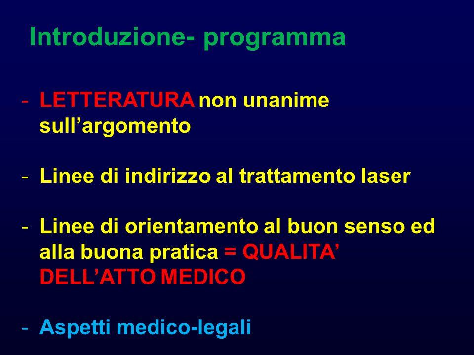 Introduzione- programma -LETTERATURA non unanime sullargomento -Linee di indirizzo al trattamento laser -Linee di orientamento al buon senso ed alla b