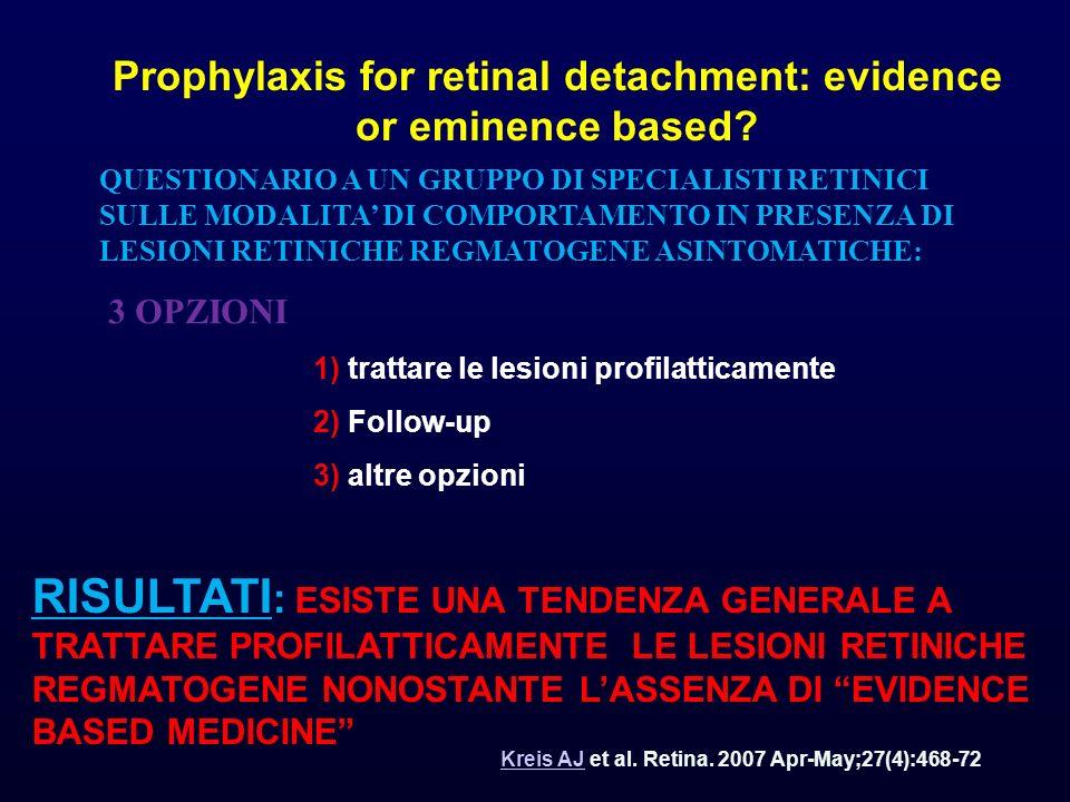 RISCHIO DI EVOLUZIONE DI LESIONI RETINICHE REGMATOGENE in DR DOPO TRAUMI 10 % DOPO INTERVENTO DI CATARATTA 20% DOPO DPV 15 % (Tielsh e coll., 1995) SE CON LA ROTTURA RETINICA COESISTE EMOVTREO IL RISCHIO DI POTENZIALE DR SUPERA IL 60 % (Von Overdem e coll., 2001)