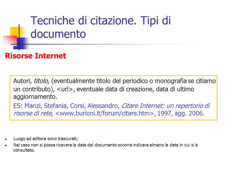 Tecniche di citazione. Tipi di documento Risorse Internet Autori, titolo, (eventualmente titolo del periodico o monografia se citiamo un contributo),,